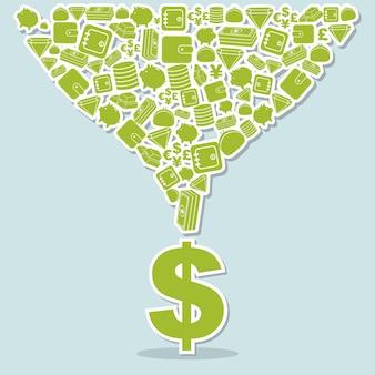 Financiënpictogrammen over blauwe vectorillustratie als achtergrond