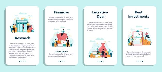Financier banner set voor mobiele applicaties