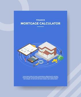 Financiering hypotheek calculator flyer-sjabloon Premium Vector