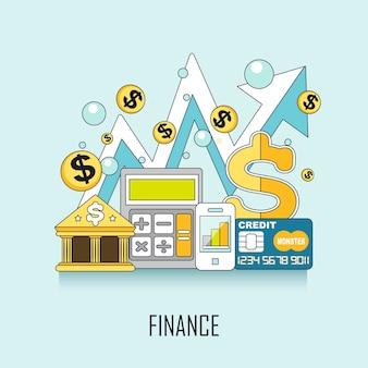 Financieringsconcept: bankelementen in lijnstijl Premium Vector