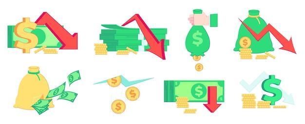 Financieringscrisis, geldverlies. recessie, bankroet en marktfalen. slecht inkomen, faillissement en inflatie zakelijke illustratie set.