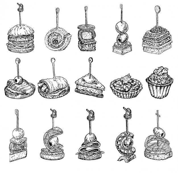 Finger food schets. tapas tekeningen illustratie. tapas en canapeetjes schets set. voedsel voorgerecht en snack schets. canapes, bruschetta, sandwichtekening voor buffet, restaurant, cateringservice.