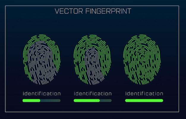 Fingerprint scanning identification-systeem in futuristische hud-stijl. bio-metrische interface.