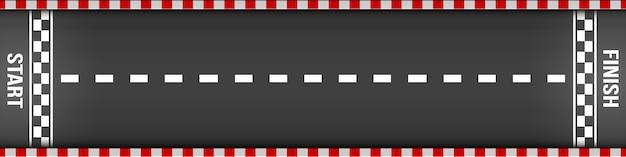 Finishlijn racen bovenaanzicht, kart, asfaltweg.