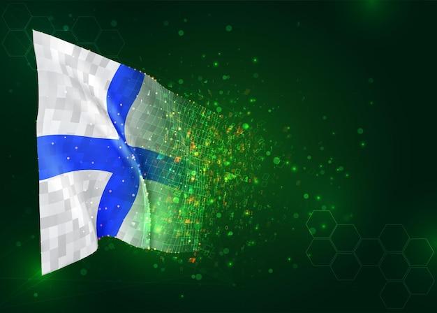Finland, 3d vlag op groene achtergrond met polygonengon