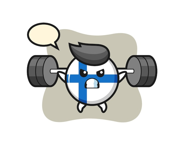 Finland vlag badge mascotte cartoon met een barbell, schattig stijlontwerp voor t-shirt, sticker, logo-element