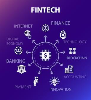 Fintech-conceptsjabloon. moderne ontwerpstijl. bevat iconen als financiën, technologie, blockchain, innovatie