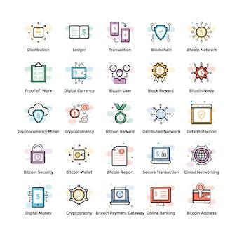 Fintech- en blockchain-pictogrammen