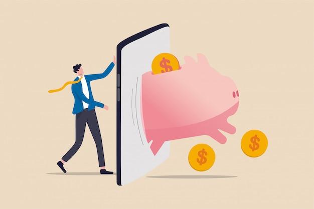 Fintech financiële technologie, bancaire mobiele app voor het besteden van investeringen en besparingsconcept, zakenmaninvesteerder die zich met mobiele applicatie met rijke roze spaarvarken met het springen van geldmuntstukken bevindt