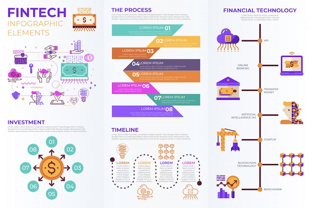 Fintech infographic elementen