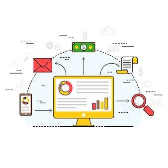 Fintechnologie (financiele technologie) mechanisme achtergrond. kleurrijke platte stijl illustratie.