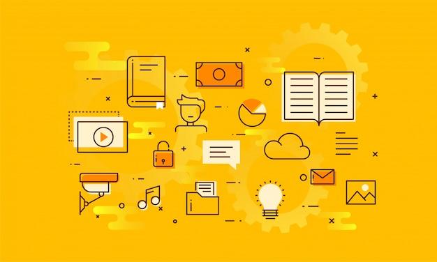 Fintechnologie (financiele technologie) mechanisme achtergrond. lineart stijl illustratie op gele achtergrond.