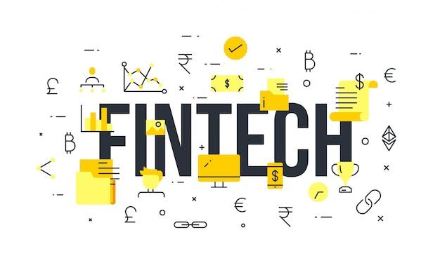 Fintechnologie (financiele technologie) mechanisme achtergrond.