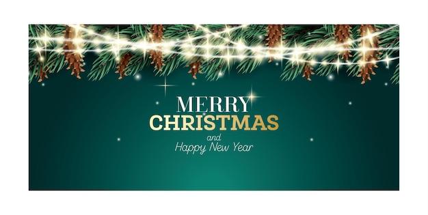 Fir branch met neon garland en kegels op groene achtergrond. prettige kerstdagen en gelukkig nieuwjaar concept. vectorillustratie.
