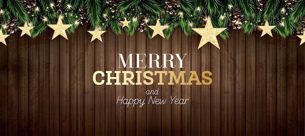 Fir branch met neonlichten, dennenappel en gouden glitter sterren op houten achtergrond. vrolijk kerstfeest. gelukkig nieuwjaar. vector illustratie.