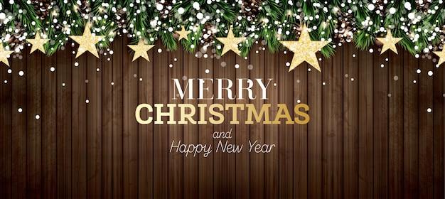 Fir branch met neonlichten, dennenappel, gouden glittersterren en sneeuwvlokken op houten achtergrond. vrolijk kerstfeest. gelukkig nieuwjaar. vector illustratie.