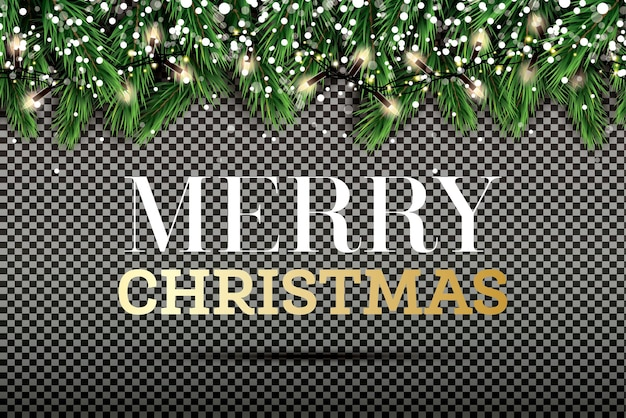 Fir branch met neonlichten en sneeuwvlokken op transparante achtergrond. vrolijk kerstfeest en een gelukkig nieuwjaar. vectorillustratie.