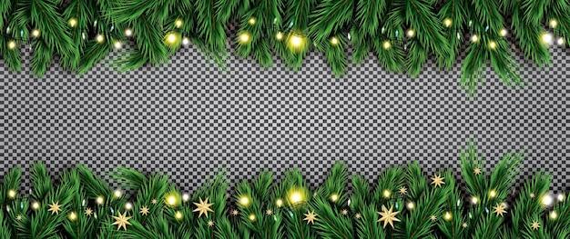 Fir branch met neonlichten en sterren op transparante achtergrond. vectorillustratie.