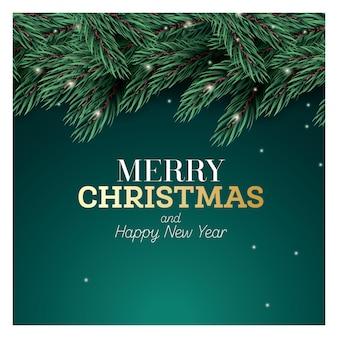 Fir branch met neonlichten op groene achtergrond. vrolijk kerstfeest en een gelukkig nieuwjaar. vectorillustratie.