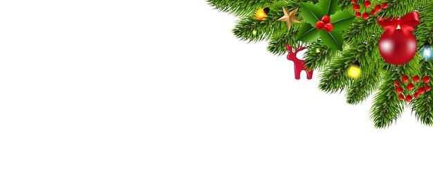 Fir kerstboom grens en christmas speelgoed en sterren met verloopnet