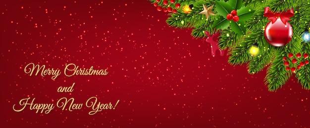 Fir kerstboom grens en kerstmisspeelgoed en ster met verloopnet