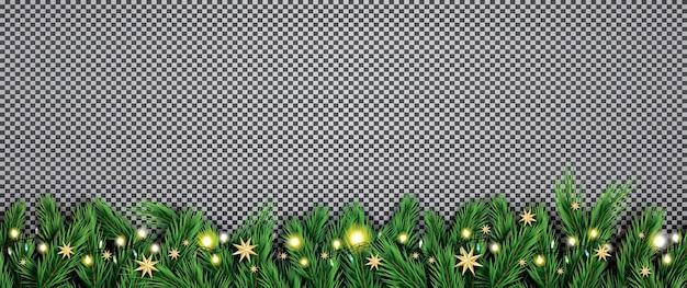 Fir tak met neonlichten en sterren op transparante achtergrond.