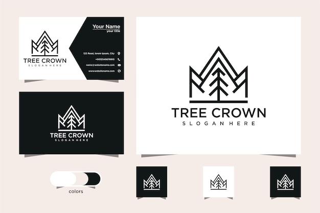 Fir tree en kroon logo ontwerp en visitekaartje