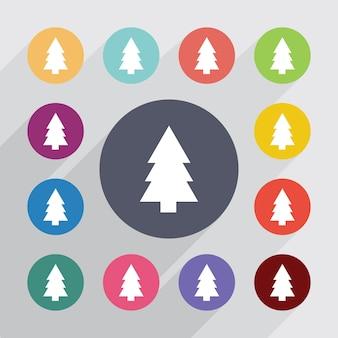 Fir-tree, plat pictogrammen instellen. ronde kleurrijke knopen. vector