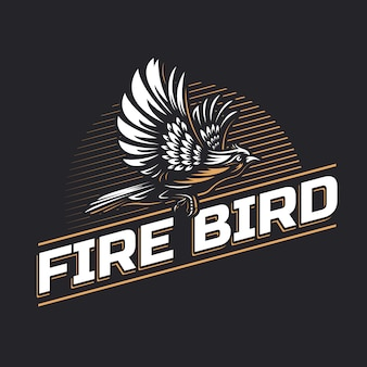 Fire bird silhouet logo sjabloon