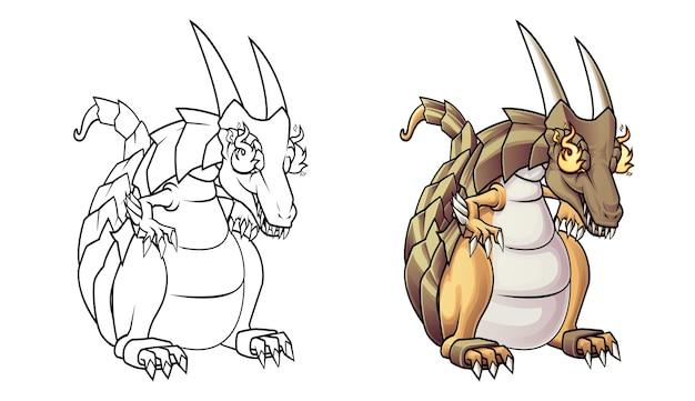 Fire dragon cartoon kleurplaat voor kinderen