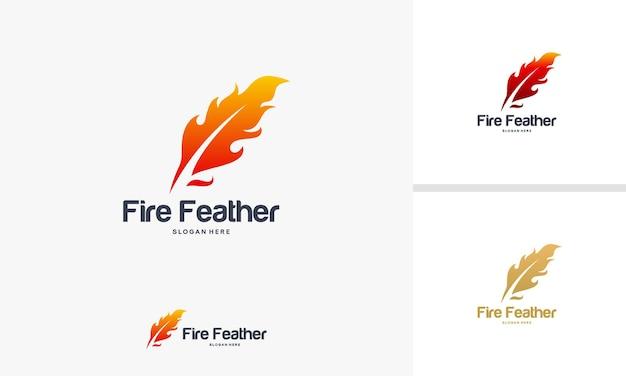 Fire feather logo ontwerpen concept, writer logo ontwerpen sjabloon, feather logo symbool