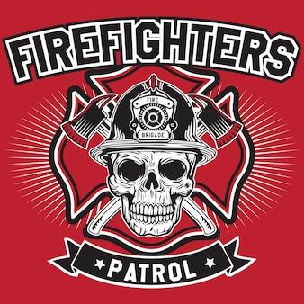 Fire fighters patrol skull