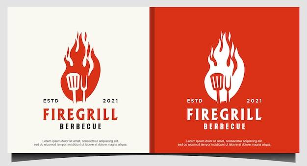 Fire flame grill spatel vork hipster logo
