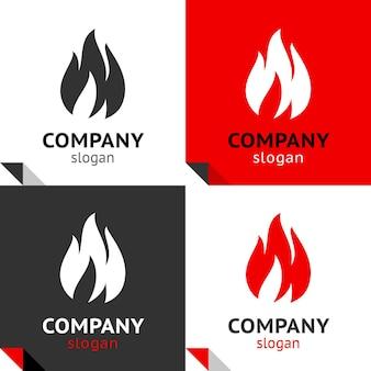 Fire flames nieuwe set, vier varianten voor uw logo