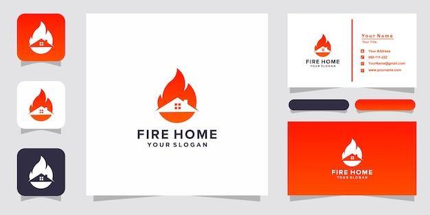 Fire home-logo en visitekaartje Premium Vector