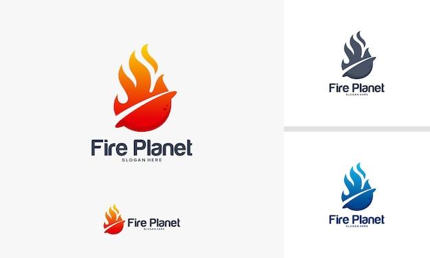 Fire planet logo ontwerpen concept, hot planet logo sjabloon, fire logo ontwerpen symbool
