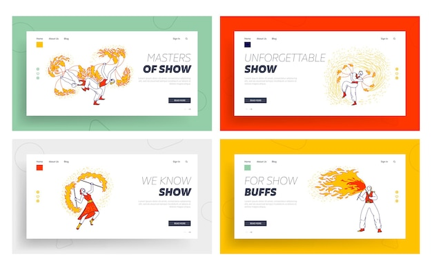 Fire show entertainment, performance landing page template set.