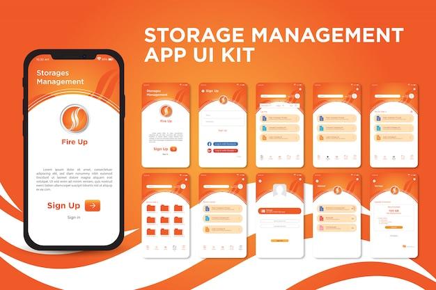 Fire up storage management app ui kit-sjabloon
