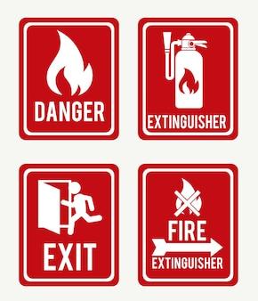 Firefigtherontwerp over witte vectorillustratie als achtergrond