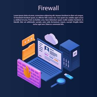 Firewall bescherming concept achtergrond, isometrische stijl