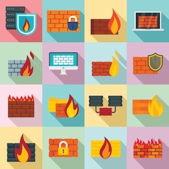 Firewall iconen set, vlakke stijl