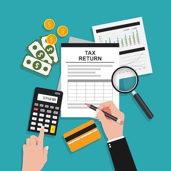 Fiscale boekhoudkundige samenstelling met handen en gereedschapssymbool Premium Vector