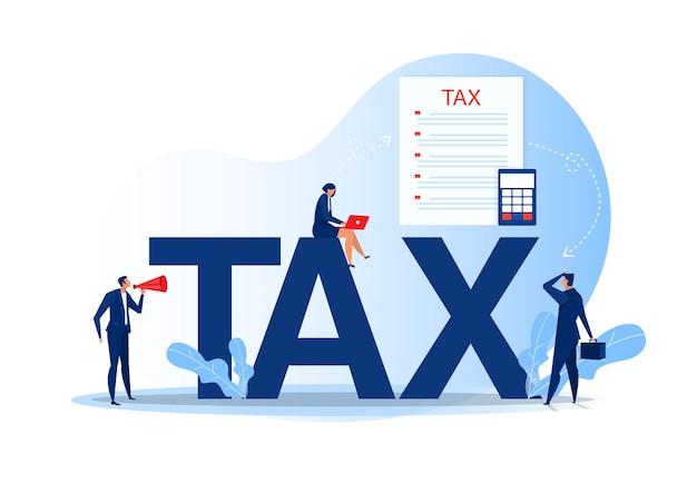 Fiscale financiële analyse; mensen uit het bedrijfsleven berekenen document voor belastingen plat