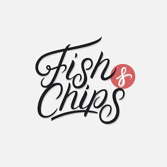 Fish and chips handgeschreven letters.