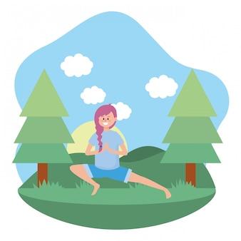 Fit vrouw beoefenen van yoga