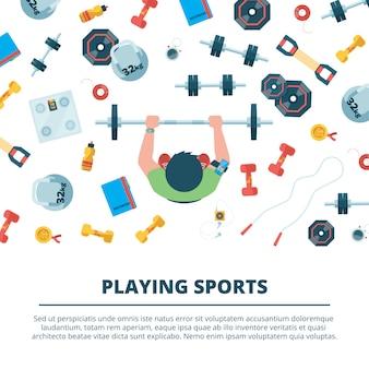 Fitness achtergrond. sport concept illustraties met fitnessapparatuur voor het trainen van horloges halters drankjes bovenaanzicht