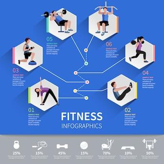 Fitness aërobe en spierkracht ontwikkeling programma zeshoekige pictogrammen