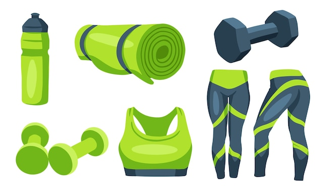 Fitness artikelen. halters voor sport. kleding voor training, een mat, een fles voor water. cartoon-stijl.
