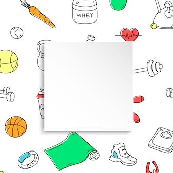Fitness banner met hand getrokken gym patroon en 3d papieren bord. doodle pictogrammen voor gezonde training en lichaamsbeweging. sport levensstijl lijntekeningen. stijlvolle fitnessbanner voor verkoop, speciale aanbiedingen, flyers en advertenties.