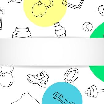 Fitness banner met hand getrokken gym patroon en 3d papieren bord.